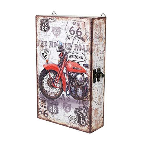 CAPRILO. Caja Guardallaves Decorativa de Madera Moto Retro. Organización y Almacenamiento. Cajas Multiusos. Muebles Auxiliares. Regalos Originales. 20 x 7,50 x 32 cm.