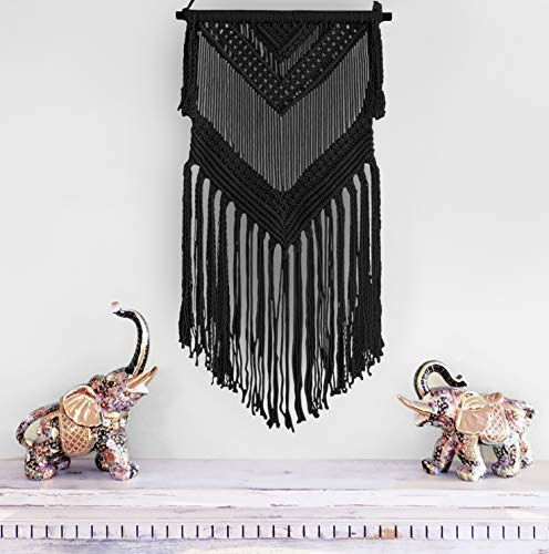 Aura Design's Boho Macrame Woven Wall Hanging Black 16 in x 36 in Modern