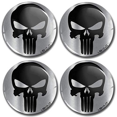 SkinoEu® 4 x 60mm Harzkleber 3D Gel Aufkleber Auto Radkappen Universal Logo Silikon selbstklebend Emblem Aufkleber Radkappen Punisher Skull Totenkopf Knochen A 7960