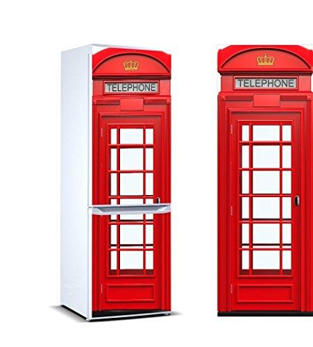 Vinyl Stickers Telefonzelle London für Kühlschrank. | Kühlschrank Aufkleber | Verschiedene Maße 185 x 60 cm | Klebstoffbeständig und einfache Anwendung | Stilvoller Design-dekorativer