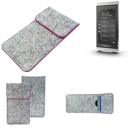K-S-Trade® Handy Schutz Hülle Für BlackBerry Porsche Design P9982 Schutzhülle Handyhülle Filztasche Pouch Tasche Case Sleeve Filzhülle Hellgrau Pinker Rand