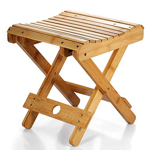 arbuio Small Chair Natural Bamboo Folding Chair Folding Stool Mini Chair Portable Chair Collapsible Chaires Folded Seat