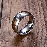 SDFASD Anillos De Carburo De Tungsteno para Hombre Únicos De 8 Mm, Grano De Madera De Caoba E Incrustación De Cz Comfort Fit Wedding Band Hombres Joyería De Moda 11