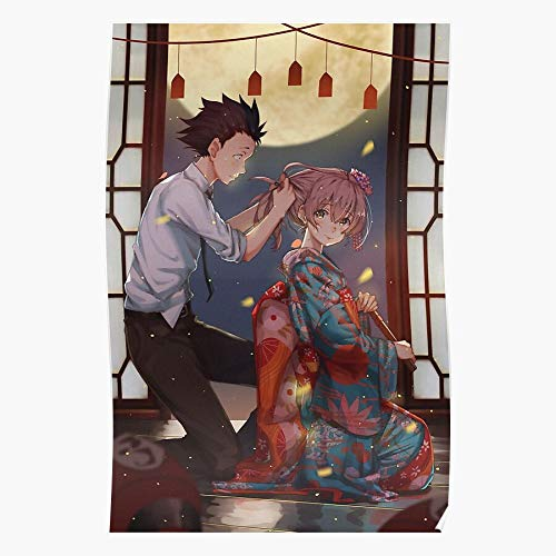 NakNak Ishida Shouko Yukata Silent No Katachi Nishimiya Kimono Manga Voice Anime Shouya Koe | Impressive and Trendy Poster Print Decor Wall or Desk Mount Options