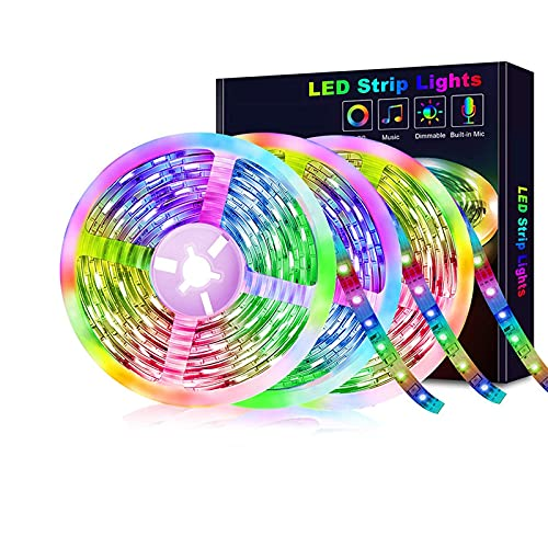 Tira De Luces LED Con Control Remoto, 5050 Kit De Tiras De Luces Multicolores Temporizadores RGB Luces De Cuerda De Música Bluetooth Para Dormitorio Hogar Pared Fiesta En El Techo,30 m 540 lights