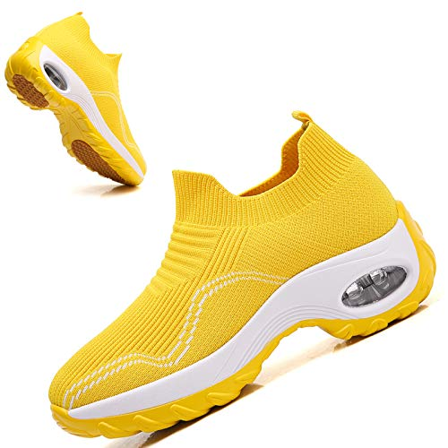 Ezkrwxn Women Shoes Size 9 for Women Sneakers Fashion Casual Slip on Sock Athletic Sport Running Tennis Walking Shoes Yellow mesh Breathable