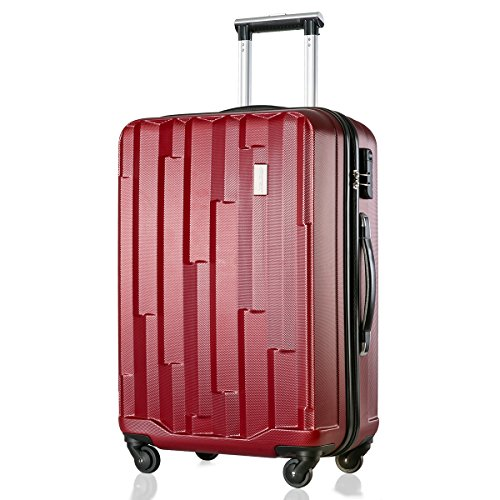 Merax Super Lightweight ABS Hard Shell Travel 4 Spinner Wheels Suitcase Cabin Hand Luggage Free 3-Year Warranty (20/24/28/Set of 3) (24, Red)