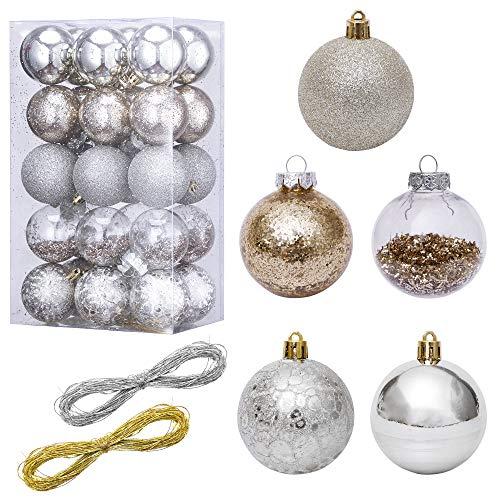 LessMo 30 Piezas de Adornos Navideños, Adornos de Bolas de árbol de Navidad Inastillables, Adornos Colgantes Decorativos Navideños para Decoración de Fiestas en el Hogar