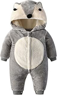 Xifamniy Infant Unisex Baby Winter Cotton Romper Cartoon Fox Shape Hooded Jumpsuit