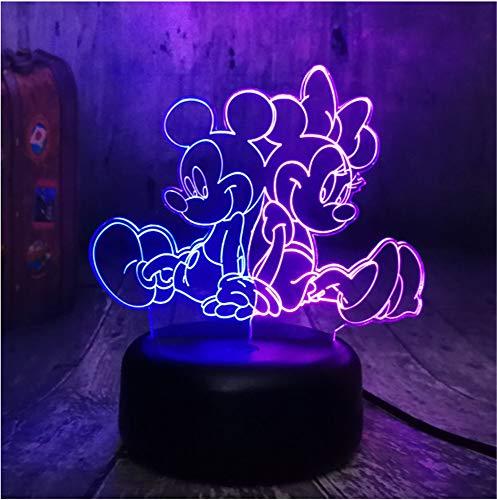 NEUE Cartoon Schöne Mickey & Minnie Mouse Multicolor 3D RGB LED Nachtlicht Mixed Dual Farbwechsel Schreibtischlampe Weihnachten Kinder Geschenk