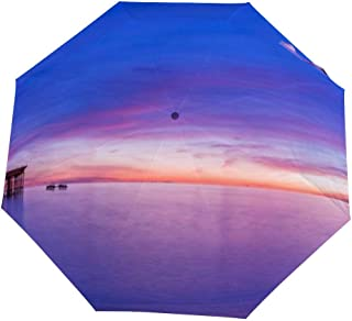Henua Brighton pier Sunset Wallpaper Folding Umbrella, Light, Compact, one-Sided Printing Windproof Umbrella Suitable for Everyone to use