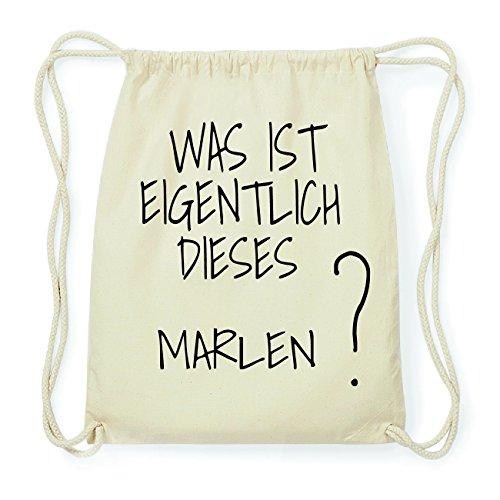 JOllify Marlen Hipster Turnbeutel Tasche Rucksack aus Baumwolle - Farbe: Natur – Design: was ist eigentlich - Farbe: Natur