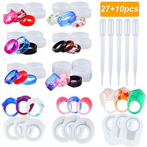 Mity rain 27 Pcs Resin Ring Silicone Mold - Finger Ring Crystal Epoxy Jewelry Mould with 10 Pcs Droppers for DIY Necklace Pendant, Earrings, Resin Keychains, Crayons, Clay Crafts
