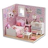 Hztyyier Puppenhaus Miniatur DIY Haus Kit Mini 3D Holzhaus mit LED-Leuchten Home Christmas Decor...