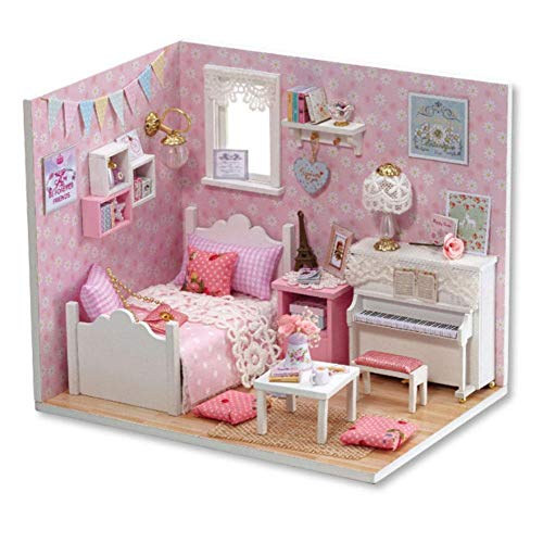 FTVOGUE Romantische und Nette Puppenhaus Miniatur Holz DIY Puppenhäuser mit Möbel Zubehör Manuelle Kreative Geburtstagsgeschenk für Kinder Mädchen (Rosa)
