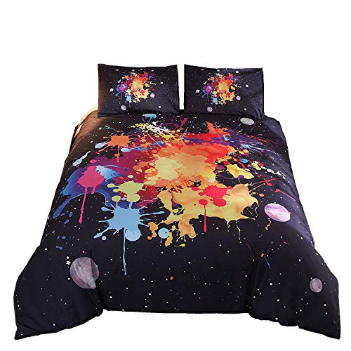 Meeting Story 3Pcs 3D Abstract Printed Duvet Cover Set, Vibrant Stains of Watercolor Paint Splatters Bedding Set (Queen, Black Colorful)