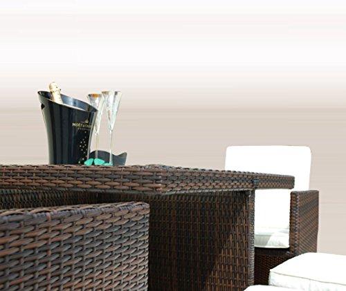 Ragnarök-Möbeldesign PolyRattan - DEUTSCHE Marke - EIGNENE Produktion - 8 Jahre GARANTIE auf UV-Beständigkeit Gartenmöbel Essgruppe Tisch + 4 Stühle & 4 Hocker 12 Polster Braun - 6