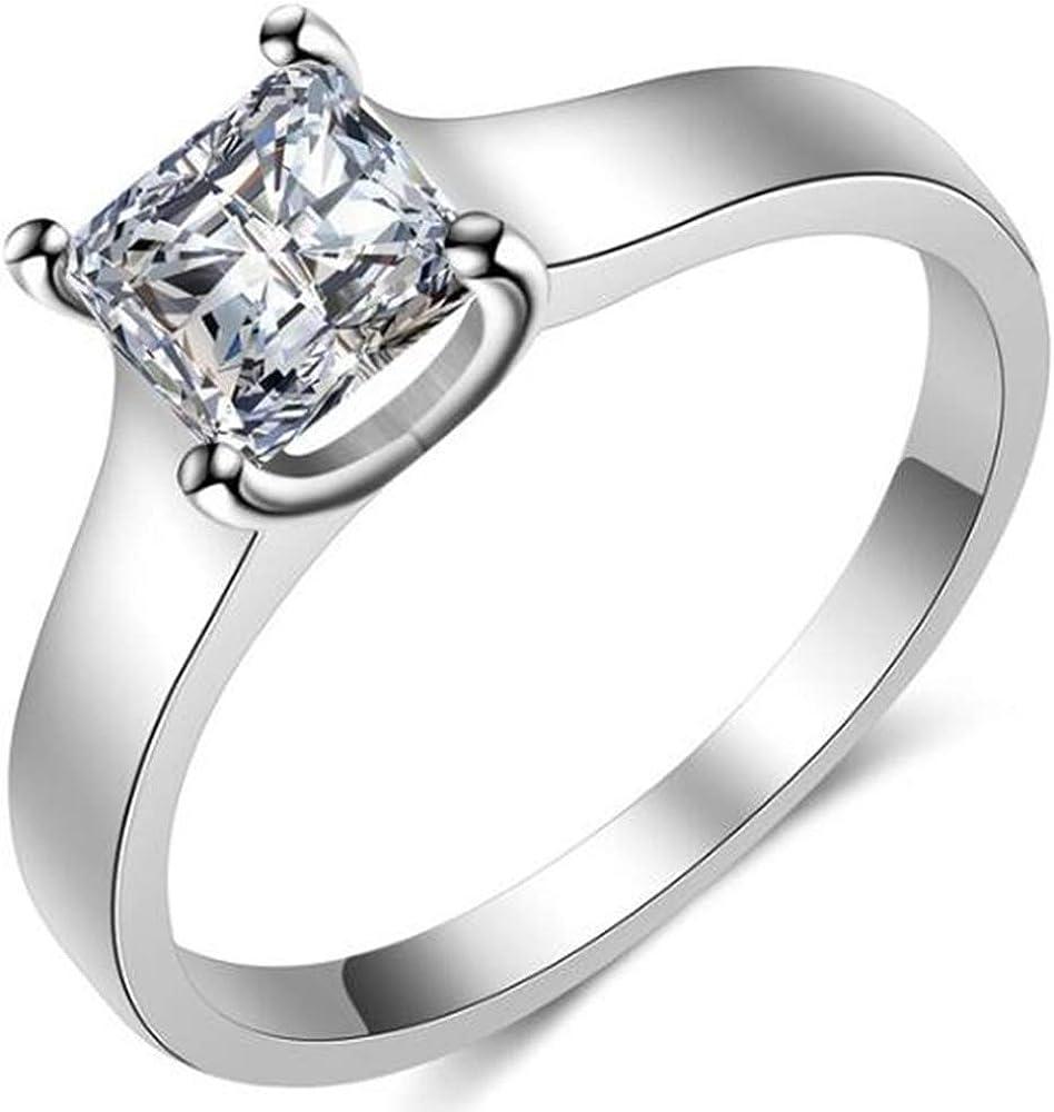 Jude Jewelers 1.0 Carat Princess Cut Classical Plain Wedding Engagement Solitaire Proposal Ring