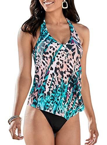 EVALESS Women Two Piece Swimsuits Surfing Sport Colorblock Sleeveless Swimwear