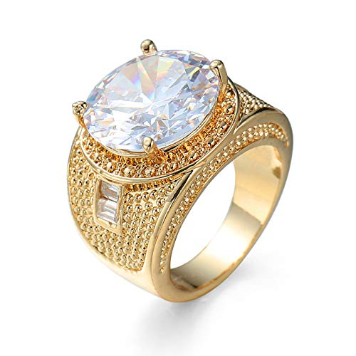 Daesar Wedding Rings for Women, Plated Yellow Gold Rings Women Wide White Round Shape Cubic Zirconia Ring Size P 1/2