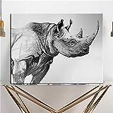 Animales salvajes africanos Rinoceronte blanco y negro Pintura en lienzo Animal Poster Pintura de pa...