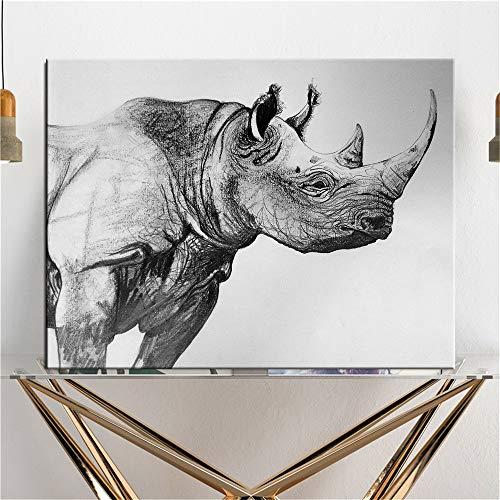 Animales salvajes africanos Pintura en lienzo de rinoceronte blanco y negro Póster de animales Pintura de pared Sala de estar Muebles para el hogar Pintura decorativa sin marco M57 40x60cm