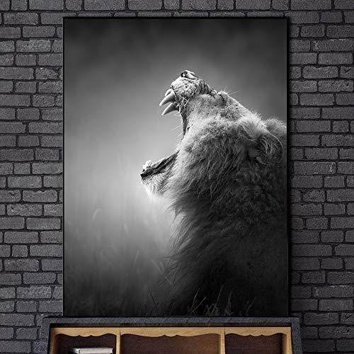 xingbu Sin marcoHowling Lion Canvas Art Prints Blanco y Negro Animales Carteles e Impresiones Lion Canvas ngs Home Wall Art Decor Cuadros 30x40cm sin Marco