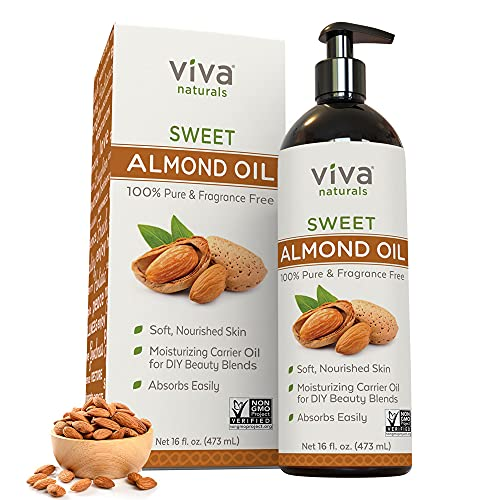 Sweet Almond Oil - Unrefined Sweet Almond Oil for Skin, Face and Body, Perfect Hair Oil and Carrier Oil for Essential Oils, Hexane Free Natural Unscented Massage Oil, Product of USA, 16 oz