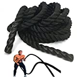 NEXPRO Battle Rope Polydac Undulation Rope Exercise Fitness Training - 1.5' Width Avail. in 30ft, 40ft, 50ft Length Black (30 Ft. Length)
