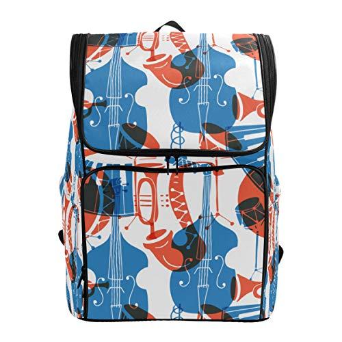 LISNIANY Rucksack,Vektor Nahtlose Muster Musik Instrumente Posaune,Computertasche,Schultasche,große Kapazität