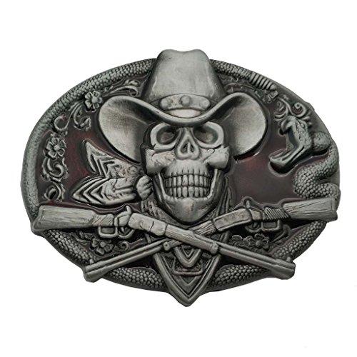 YONE Hebilla de cinturón Western Cowboy Skull Pirate Rifles Belt Buckle Rojo