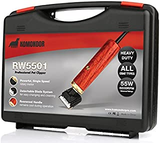 Komondor Heavy Duty 55W Professional Pet Clipper w/Rosewood Handle & Detachable Blades | Grooming Kit for Small/Large Dogs, Cats, Rabbits, Horses | Long, Thick, Matted Hair | Storage Case