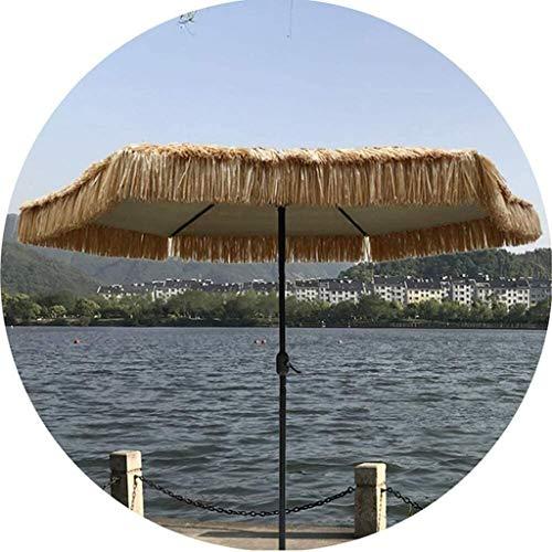 XNJJ Anti-UV Paraguas de la Paja, Sol y el Viento a Prueba de Beach Terrace Jardín Paraguas Paraguas 8.8Ft Tejido de Paja (sin Base) 9.3