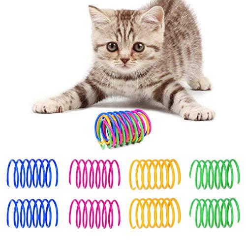 Buntes Frühling Katzenspielzeug, Kätzchen Plastikspielzeug, 20 Stück Plastik Spiralfedern, Katze Frühling Spielzeug, Kätzchen Haustiere Neuheit Geschenk, Spielzeug für Katzen