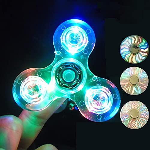 Fidget Spinner con luz LED de cristal – Tri Spinning Top Fingertip Toys – El mejor regalo para ansiedad ADHD EDC Alivio del estrés, Gyro Juguetes de escritorio para escuela Oficina Fiesta Favores