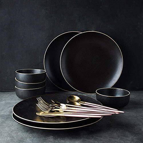 CLLX Servizio da tavola in Porcellana Nera Set di Posate, Set Combinato con Piatto Tondo per tovaglietta in PVC, Facile da Pulire B 30 Pezzi