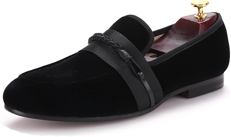 HI&HANN Men Vvelvet shoes with Handmade Weaving Rope Loafer shoes Slip-on Round Toes Smoking Slipper