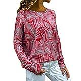 Tooth Damen Tops T Shirt Langarmshirt Shirt Sommer Herbst Casual Frauen Plus Size Lose Beiläufige Langarm Blumendruck Rundhals Top Bluse 2019(rot,S)