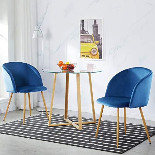 IPOTIUS Set di 2 Sedie Sala da Pranzo Moderne Poltrona in Velluto Poltroncine da Cucina,Seduta Imbottiti,Gambe in Metallo,Blu