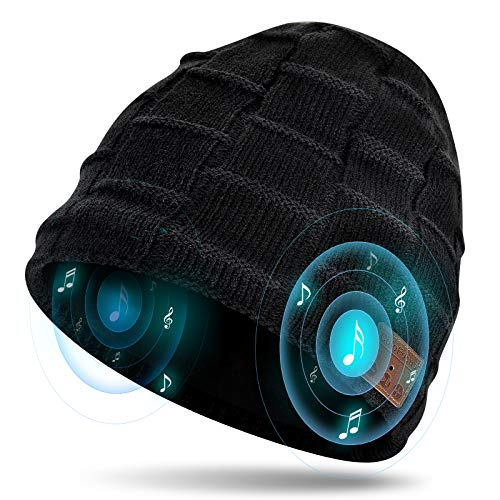 ColoFocus Bluetooth Beanie Hat for Men, Music Hat Christmas Beanie Hat, Unique Winter Sports Gifts for Men Husband Boys Black