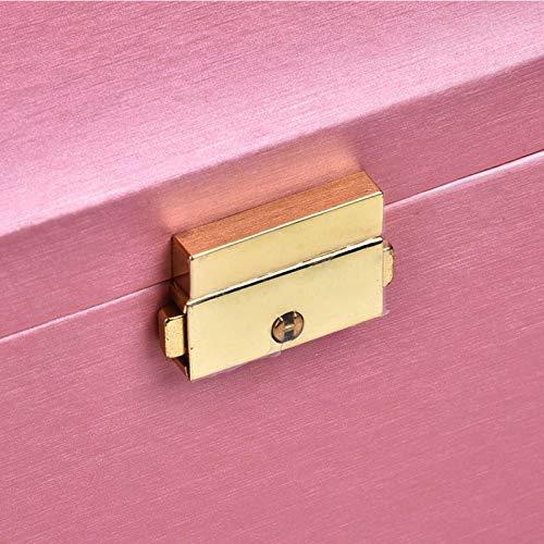 Contenedor de joyería, reloj de cuero de PU Caja de almacenamiento de joyería rosada para el hogar Escritorio portátil con espejo incorporado para pendiente para collar