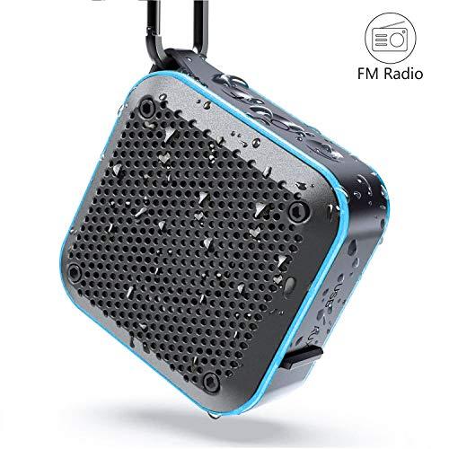 【最新版】KIYEDAM BT525 Bluetoothスピーカー完全ワイヤレス ミニ 小型minコンパクポータブルスピーカー、IPX7防水規格、FMラジオ機能、強化された低音大音量、TWS対応 車載、12時間連続再生、風呂用、アウトドア、内蔵マイク、AUXケープルポート、USB充電、TFカード、カラビナ