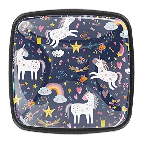 (4 piezas) pomos de cajón para cajones, tiradores de cristal para gabinete, hogar, oficina, armario, unicornio, morado 35 mm
