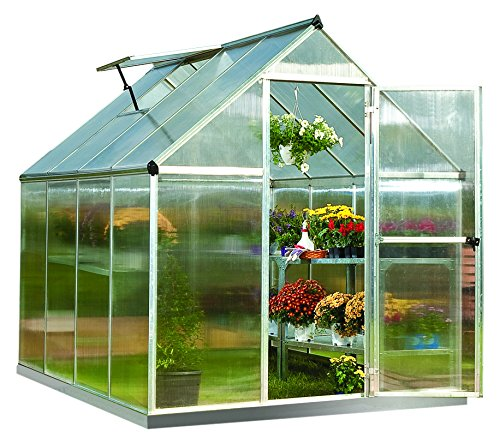 Palram Mythos 6x8 ft Silver Greenhouse -TwinWall Polycarbonate, Aluminum Frame, Base Included