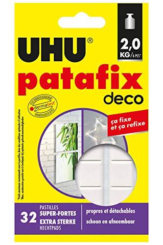 UHU Patafix Deco, Fixierpaste Superstark vorgeschnittene Tabletten (bis 2 kg) und repositionierbar, 32 Pads, weiß