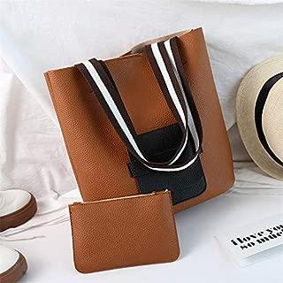 Fashion Single-Shoulder Bags 2 in 1 Leisure Fashion PU Leather Shoulder Bag Handbag(Black) (Color : Lightbrown)