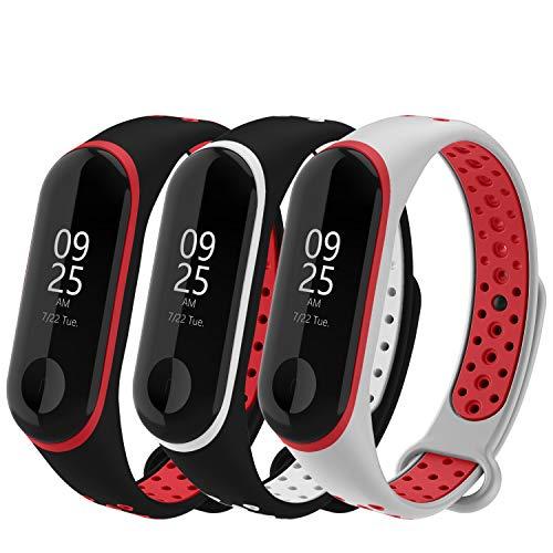 WASPO für Mi Band 4 Armband, Silikon Ersatzband Kompatibel mit Xiaomi Mi Band 3/4 NFC Mehrfarbige Sportarmbänder Damen Herren (24 Schwarzrot Schwarzweiß Graurot)