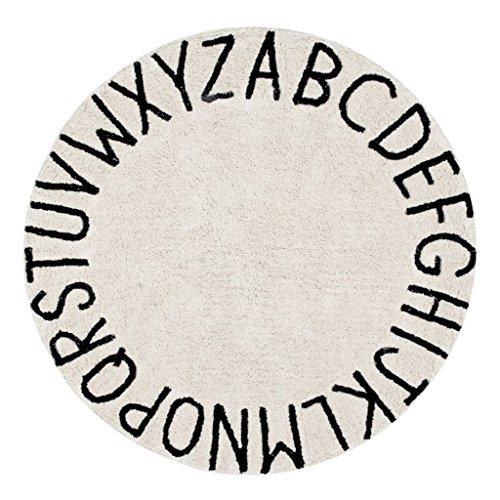 Unbekannt Teppiche Teppiche Kinder Alphabet Runde Teppiche Baumwolle Baby Krabbeln Matte Spielmatten Bürodrehstühle Teppichmatten Schlafzimmer Nachtteppiche (Color : White, Size : 120CM(47.2INCH))