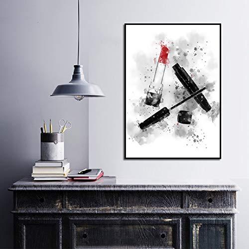 hetingyue Rahmenlose Aquarell nordischen Elefanten Poster und Drucke Mascara Lippenstift auf Leinwand Wand Künstler Dekoration HD Bild Wohnzimmer 30 x 40 cm