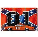 3 piezas HD impreso lienzo arte coche rojo con bandera X impresiones en lienzo impresión de imágenes carteles impresiones decoración de pared 50x70cm